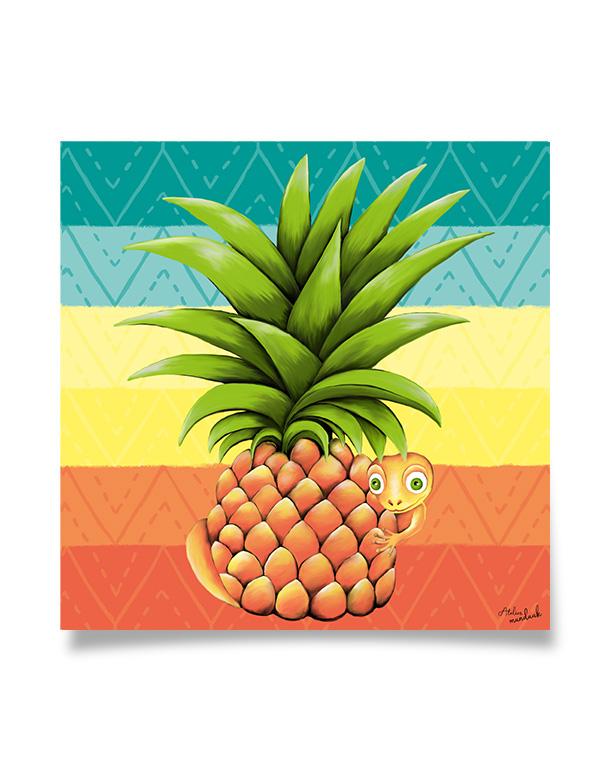 tableau-affiche-décoration-ananas-lézard-salamandre-motifs-ethnique