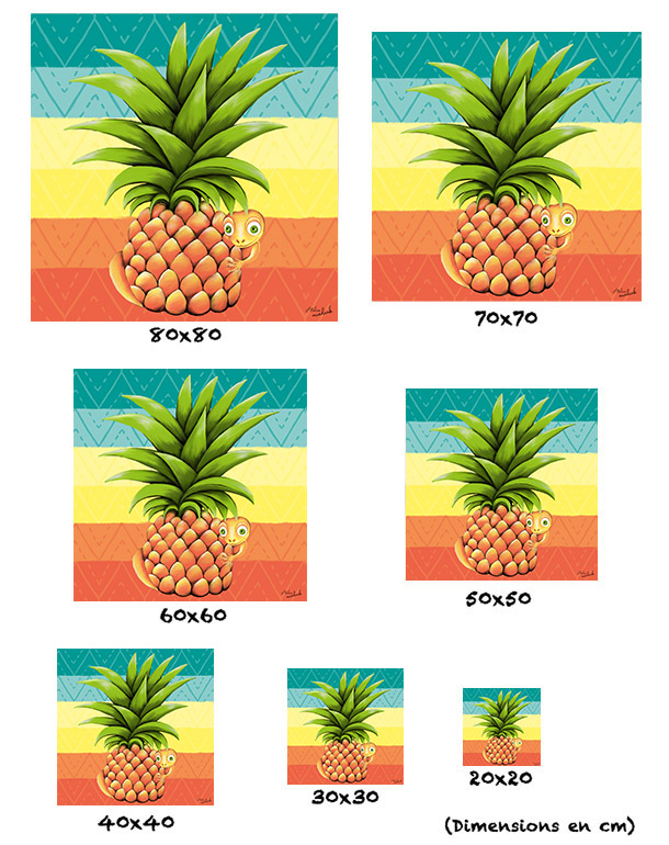 tableau-affiche-papier-aluminium-tailles-décoration-ananas-lézard-motifs-ethnique