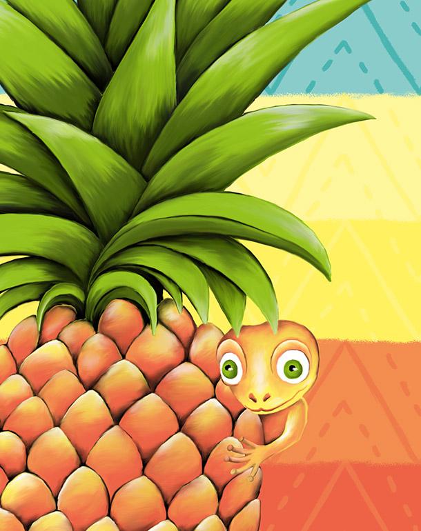 zoom-tableau-affiche-décoration-ananas-lézard-salamandre-motifs-ethnique