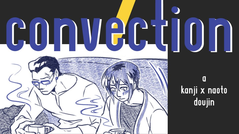 Cover of Convection, showing a panel of Kanji and Naoto sitting together on the couch, looking awkward and shy