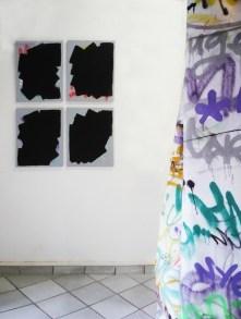 Guillaume Mathivet // Sans titre // acrylique, marqueurs, aérosols sur toile et vernis préventif anti-graffiti