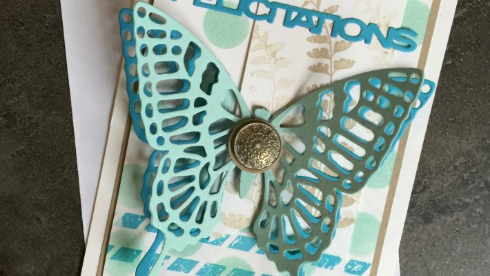 Carte félicitation communion profession de foi Simplement papillon et Thinlits papillon par Marie Meyer Stampin up - http://ateliers-scrapbooking.fr/ - Butterfly Basics Stamp -Butterflies Thinlits - Schmetterlingsgruß Stempel -Thinlits Schmetterlinge