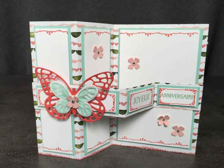 Carte double Z anniversaire Coffret de souhait Famelits Papillon audacieux, Thinlits Papillons Watercolor Wings et son tutoriel par Marie Meyer Stampin up - http://ateliers-scrapbooking.fr/ - Tin of Cards Stamp - Bold Butterfly Framelits - Butterflies Thinlits - Grußelemente Stempel - Framelits Schmetterling - Thinlits Schmetterlinge