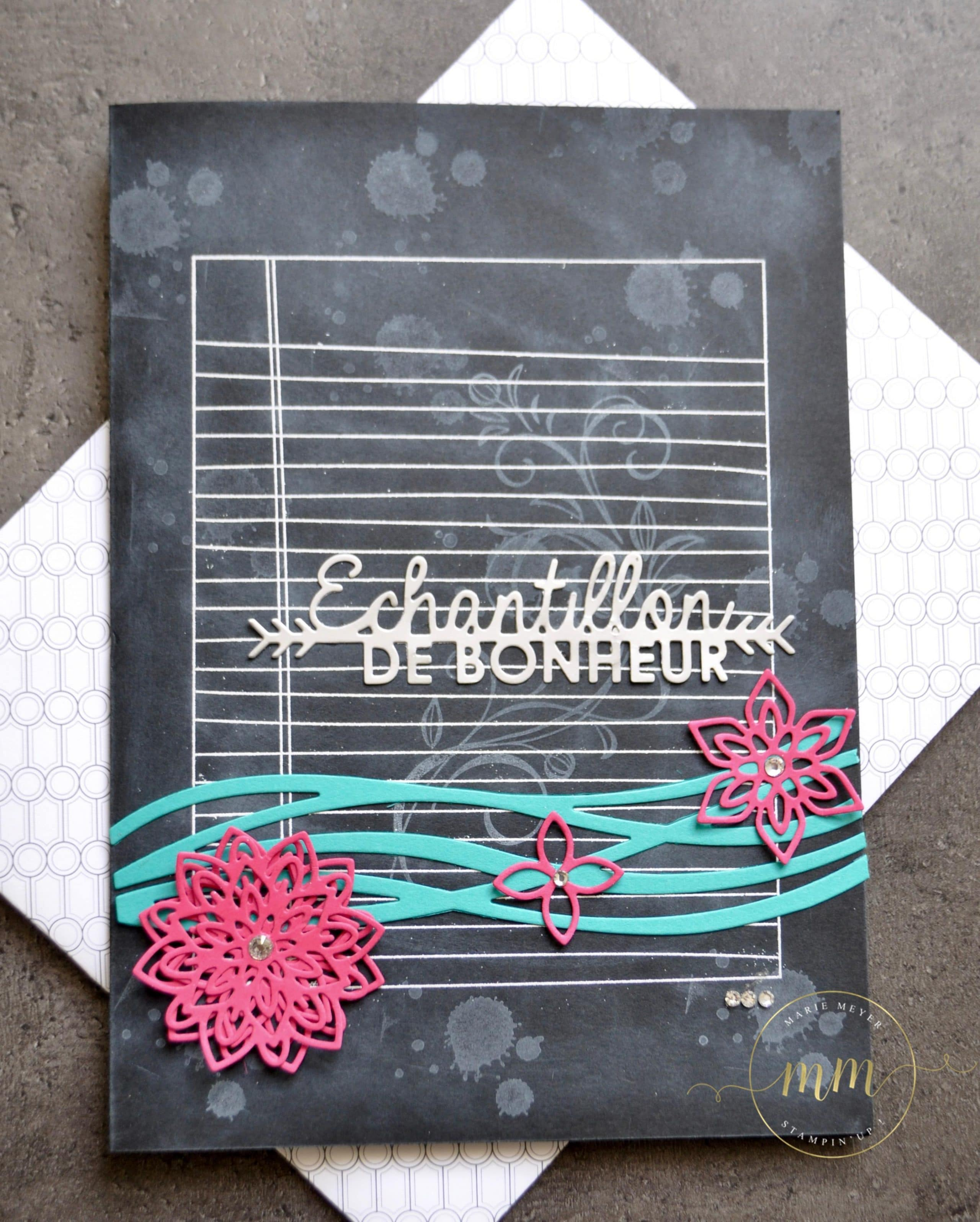 Carte de remerciement assistante maternelle tableau noir et Thinlits tourbillonnants par Marie Meyer Stampin up - http://ateliers-scrapbooking.fr/ - Swirly Scribbles Thinlits - Flourish Thinlits -Thinlits Wunderbar verwickelt - Thinlits Blütenpoesie