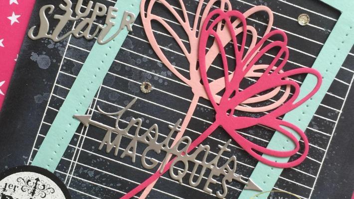 Carte départ à la retraite tableau noir Thinlits voeux ensoleillés par Marie Meyer Stampin up - http://ateliers-scrapbooking.fr/ - Sunshine Wishes Thinlits - Thinlits Grüße voller Sonnenschein