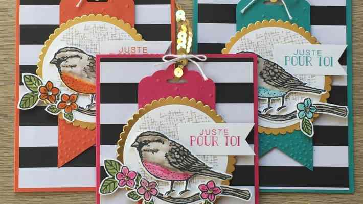 Cartes envolées de voeux et thinlits fleurs et oiseaux par Marie Meyer Stampin up - http://ateliers-scrapbooking.fr/ - Best Birds Stamp Set and Birds & Blooms Thinlits Dies - Stempelset Vogelhochzeit und Thinlits Formen Blumen und Vögel