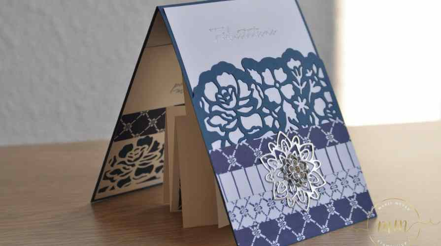 Carte de félicitation de mariage pop up twist Fleurs ouvragées par Marie Meyer Stampin up - http://ateliers-scrapbooking.fr/ - Detailed Floral Thinlits - Flourish Thinlits - Thinlits Florale Fantasie - Thinlits Blütenpoesie