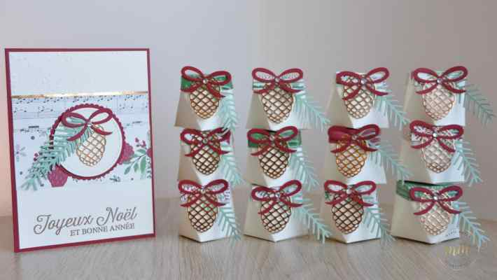 Carte de Noël et boîtes diamant et son tutoriel Thinlits Branches et pommes de pins par Marie Meyer Stampin up - http://ateliers-scrapbooking.fr/ - Pretty Pines Thinlits Dies - Tannen und Zapfen Thinlits Formen