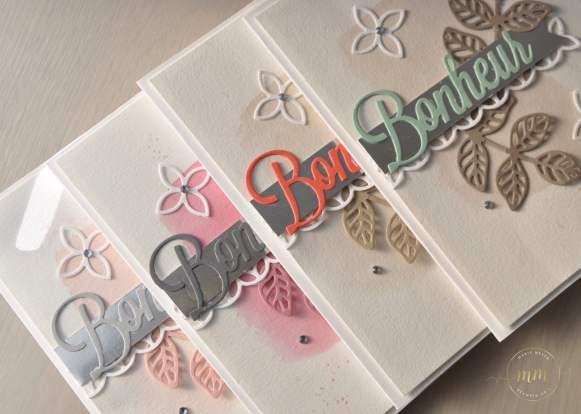 Cartes aquarelles Thinlits Voeux ensoleillés et Thinlits En fleurs par Marie Meyer Stampin up - http://ateliers-scrapbooking.fr/ - Flourish Thinlits Dies - Sunshine Wishes Thinlits Dies - Thinlits Blütenpoesie - Thinlits Grüße voller Sonnenschein