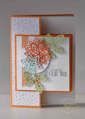 Cartes doubles faces Thinlits en Fleurs, Papier Design Nuit de l'Halloween par Marie Meyer Stampin up - http://ateliers-scrapbooking.fr/ - Flourish Thinlits - Thinlits Blütenpoesie