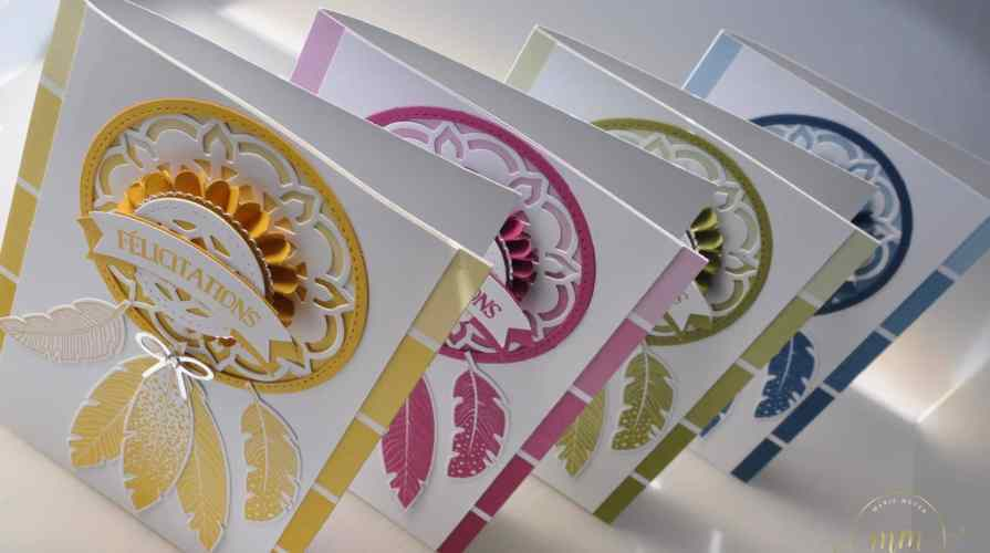 Carte attrape rêves Thinlits Médaillons de l'Orient par Marie Meyer Stampin up - http://ateliers-scrapbooking.fr/ - Dream Catcher Card - Eastern Medallions Thinlits - Color Theory Designer Series Paper Stack - Traumfänger karte Thinlits Orient-Medaillons - Designerpapier im Block Farbenspiel