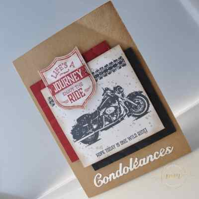 Carte de condoléances One Wild Ride par Marie Meyer Stampin up - http://ateliers-scrapbooking.fr/ - Condolences card - Best Badge Punch - One Wild Stamp - Beileidskarte - Wappen Stanzen - One Wild Stempel