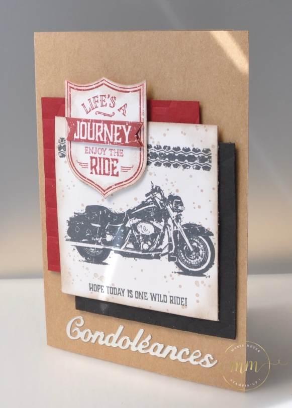 Carte de condoléances One Wild Ride par Marie Meyer Stampin up - http://ateliers-scrapbooking.fr/ - Condolences card - Best Badge Punch - One Wild Stamp - Beileidskarte - Wappen Stanzen - One Wild Stempel