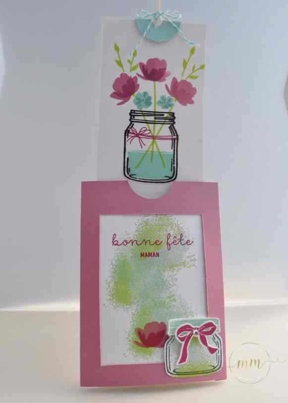 Carte magique Petit Pot d'Amour spécial fête des mères et son tutoriel par Marie Meyer Stampin up - http://ateliers-scrapbooking.fr/ - Motherday card - Everyday Jars Framelits - Jar of Love Stamp - Muttertag karte - Framelits Einweckgläser für alle Fâlle - Glasklare Grüße Stempel