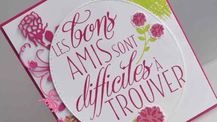 Carte d'anniversaire Adorables amis Thinlits Adorables lauriers par Marie Meyer Stampin up - http://ateliers-scrapbooking.fr/ - Lovely Friends Stamp Set - Lovely Laurel Thinlits Dies - You've Got This Stamp Set - Stempelset Für Freunde - Thinlits Formen Lorbeerkranz - Stempelset Alles wird gut