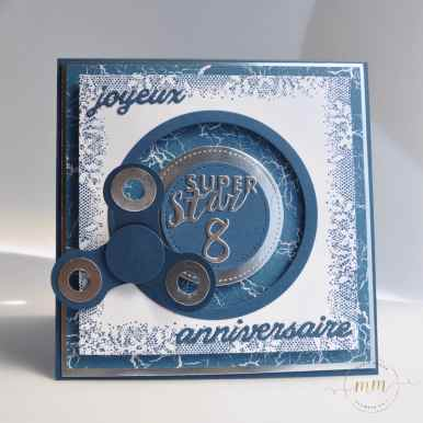 Carte d'anniversaire hand spinner et son tutoriel Papier design Théorie de couleur et set de tampons Touches of Textures par Marie Meyer Stampin up - http://ateliers-scrapbooking.fr/ Birthday card hand spinner - Color Theory Designer Series Paper Stack - Geburstagskarte Hand Spinner - Designerpapier im Block Farbenspiel