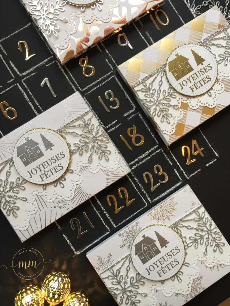 Mini calendrier de l'avent de poche Les joies de l'hiver, Boîtes, Boîtes à gourmandises, Boîtes cadeaux, Calendriers de l'Avent, Planche insta enveloppes, Set de tampons Souhaits en rafales, Stampin up, Thinlits Flocons virevoltants, Tutoriels, Papier de la série Design Spécialité Les joies de l'hiver par Marie Meyer Stampin up - http://ateliers-scrapbooking.fr/ - Advent calendar Year of Cheer Specialty, box, Envelope Punch Board, Hearts Come Home Stamps, Swirly Snowflakes Thinlits Dies, Year of Cheer Specialty Designer Series Paper, Tutorial -Adventskalender Winterfreuden, Stanz- und Falzbrett für Umschläge, Weihnachten daheim Stampel, Thinlits Formen Flockenreigen, Besonderes Designerpapier Winterfreuden, Anteilung