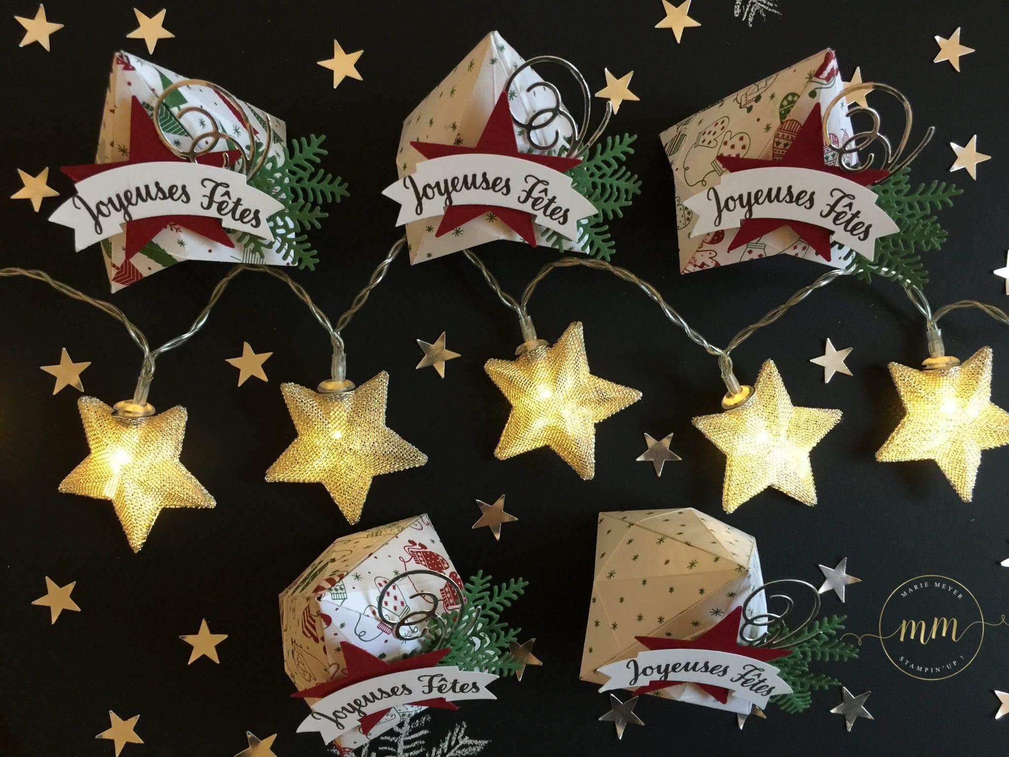 Boîtes origami de Noël Papier Soyons Joyeux et tutoriel, Perforatrice Deux banderoles, tampons Etoile lumineuse, Thinlits Escaliers de Noël & Flocons virevoltants par Marie Meyer Stampin up - http://ateliers-scrapbooking.fr/ - Origami Christmas tutorial, Be Merry paper, Duet banner punch, Star of light stamp, Swirly Snowflakes & Christmas Staircase Thinlits - Anteilung Origami, Papier Voller Vorfreude, Bannerduo Stenzen, Weihnachtssternstempel, Thinlits Flockenreigen & Weihnachtliche Treppe