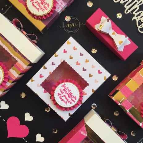 Boîtes à gourmandises, boîtes à cadeaux, chocolat, Framelits : Formes à coudre, Mon tabier, Pyramide de carrés et Pyramides de cercles, Papier Desgin Spécialité Peint avec amour, Perforatrice Nœud, Set de tampons Tablier d'amour, Tutoriels, Pas à pas, Stampin'blends markers par Marie Meyer Stampin up - http://ateliers-scrapbooking.fr - Candy box, chocolate box, Stitched shapes Framelits, Apron builder Framelits, Layering Squares Framelits, Layering Circles Framelits, Petal Passion Designer Serie Paper, Bow Builder Punch, Apron of love Stamp set, Tutorial - Süßigkeiten box, Pralinenschachtel, Schokolade box, Framelits Stickmuster, Framelits Schürze, Framelits Lagenweise Quadrate, Framelits Lagenweise Kreise, Designerpapier Blüttenfantasie, Bogen Stanzen, Kittelkreationen Stemper set, Anteilung