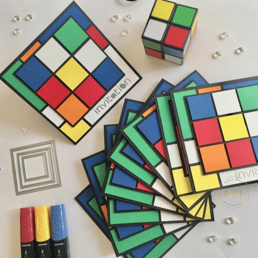Carte d'invitation anniversaire Rubik's cube par Marie Meyer Stampin up - http://ateliers-scrapbooking.fr - Invitation Rubik's cube card - Rubik's cube Einladungskarte
