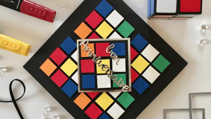 Carte anniversaire pop up Rubik's cube et son tutoriel par Marie Meyer Stampin up - http://ateliers-scrapbooking.fr – Tutorial Birthday Rubik's cube pop up card – Geburtstag Rubik's cube pop up karte Anteilung