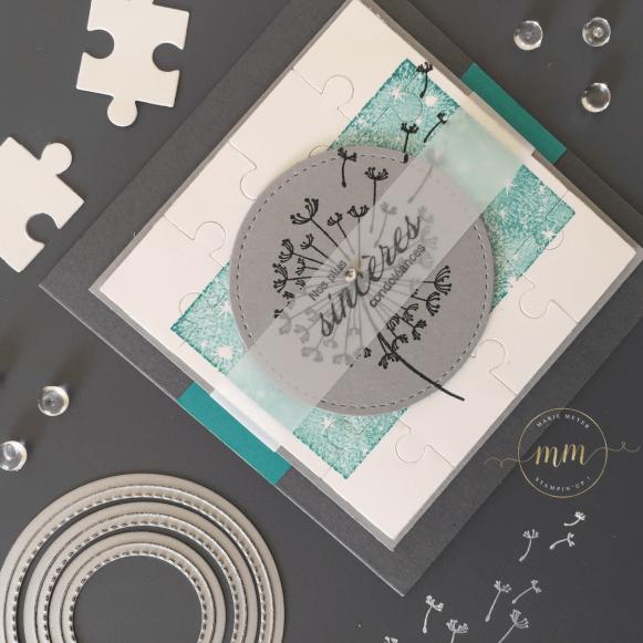 Cartes de condoléances, Framelits Formes à coudre, Set de tampons Bokeh dots, Sets de tampons Dandelion wishes, Set de tampons Fleurs sincères, Thinlits Pièces de puzzle par Marie Meyer Stampin'up - http://ateliers-scrapbooking.fr -Sympathy cards, Stitched shapes Framelits dies, Bokeh dots Stamp set, Dandelion wishes Stamp set, Heartfelt Blooms Stamp set, Puzzle Pieces Thinlits dies - Trauer-karten, Framelits formen Stickmuster, Stempelset Bokeh dots, Stempelset Dandelion wishes, Stempelset Blumen von Herzen, Thinlits Formen Puzzleteile