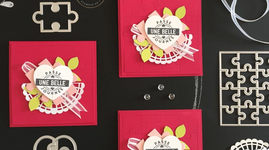 Cartes de remerciements Love you to pieces Thinlits Pièces de puzzle, Coffret à perforatrice étiquette mignonne, perforatrice Feuillage par Marie Meyer Stampin'up - http://ateliers-scrapbooking.fr - Thank you cards, Leaf Punch - Darling Label Punch Box - Danke Karten, Stanz-box Exquiste Etiketten, Blätterzweig Stanze