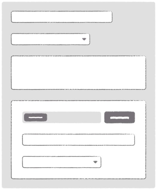 Complex form with input, select, textarea, and multiple fields nested inside