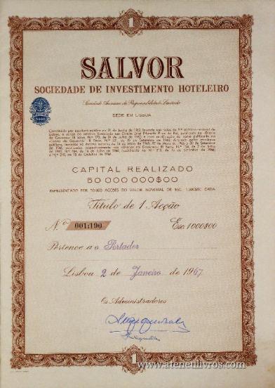 Acções «Salvor» Sociedade de Investimento Hoteleiro «€10.00»