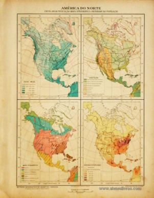 América do Norte -Chuva Anual - Vegetação - Mapa Etnográfico - Densidade da População «€5.00»