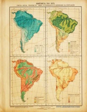 América do Sul -Chuva Anual - Vegetação - Mapa Etnográfico - Densidade da População «€5.00»