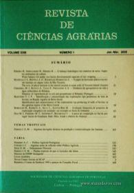 Revista de Ciências Agrárias - Volume XXIII - Nº 1 – Jan. – Mar.- 2000 - Publicação da Sociedade de Ciências Agrárias de Portugal - Lisboa - 2000. Desc. 176 pág. / 24 cm x 17 cm / Br. - «€15.00»