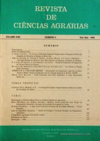 Revista de Ciências Agrárias - Volume XVIII - Nº 4 – Out. – Dez.- 1995 - Publicação da Sociedade de Ciências Agrárias de Portugal - Lisboa - 1995. Desc. 115 pág. / 24 cm x 17 cm / Br. - «€10.00»