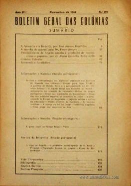 Boletim Geral das Colónias – Ano 17.ª – Novembro de 1941 – N.º 197 – Agencia Geral das Colónias – Lisboa – 1941. Desc. 137 pág. / 22,5 cm x 16 cm / Br «€12,50»