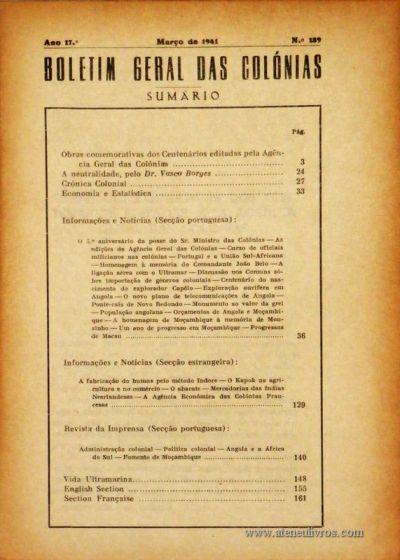 Boletim Geral das Colónias – Ano 17.ª – Março de 1941 – N.º 189 – Agencia Geral das Colónias – Lisboa – 1941. Desc. 166 pág. / 22,5 cm x 16 cm / Br «€12,50»