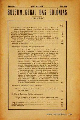 Boletim Geral das Colónias – Ano 20.ª – Julho de 1944 – N.º 229 – Agencia Geral das Colónias – Lisboa – 1944. Desc. 218 pág. / 22,5 cm x 16 cm / Br «€12,50»