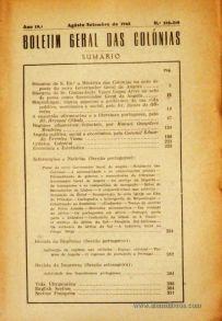 Boletim Geral das Colónias – Ano 19.ª – Agosto/Setembro de 1943 – N.º218-219 – Agencia Geral das Colónias – Lisboa – 1943. Desc. 317 pág. / 22,5 cm x 16 cm / Br «€15,00»