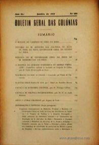 Boletim Geral das Colónias – Ano 25.ª – Janeiro de 1949 – N.º283 – Agencia Geral das Colónias – Lisboa – 1949. Desc. 223 pág. / 22,5 cm x 16 cm / Br «€12,50»