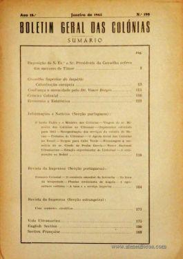Boletim Geral das Colónias – Ano 18.ª – Janeiro de 1942 – N.º199 – Agencia Geral das Colónias – Lisboa – 1942. Desc. 195 pág. / 22,5 cm x 16 cm / Br «€12,50»