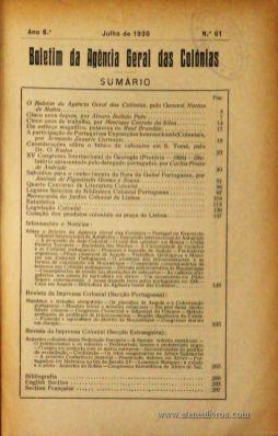 Boletim Geral das Colónias – Ano 6.ª – Julho de 1930 – N.º61 – Agencia Geral das Colónias – Lisboa – 1930. Desc. 300 pág. / 22,5 cm x 16 cm / Br «€12,50»