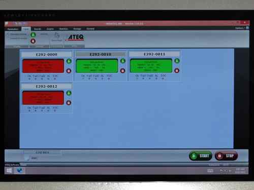 Hydra Silver Leak Tester screen displaying all four channels
