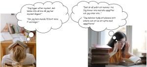 bilder på två personer som gett upp och tankebubblor som visar vad de tänker