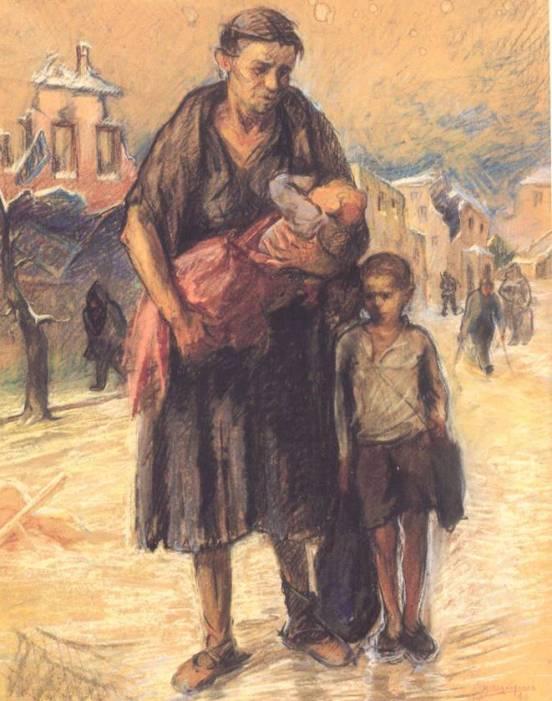 Κώστας Μαλάμος: Ξεκλήρισμα, 1946 (Παστέλ)