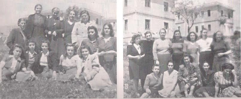 Γυναίκες στο Στρατόπεδο Χίου. Στο βάθος διακρίνονται τα δύο από τα τρία κτίρια του στρατώνα