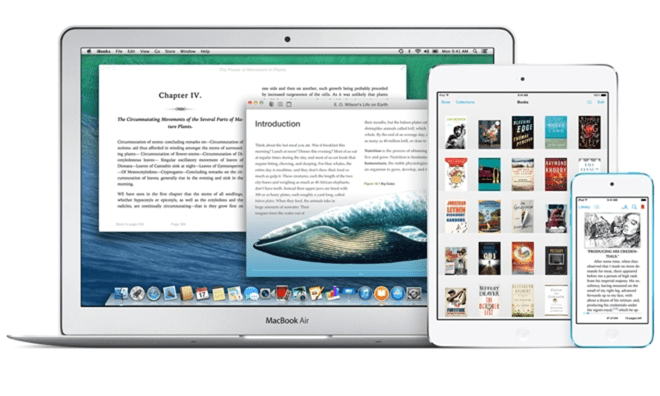 Image of an Mac laptop, iPad, and iPhone with eBooks open on all devices.