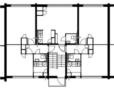 Unidad repetitiva en el estado original: uno y dos pisos de habitaciones con baño y cocina