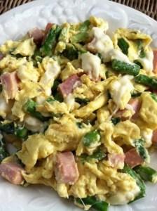 asparagus, green onion, mozzarella scramble