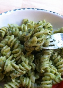 If you use rotini, then the pesto gets stuck in the twirls and is amazing!