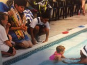 Milena's first swimming lessons with Alex and Natasa.