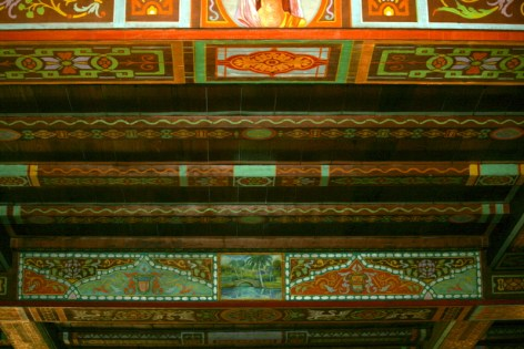 Handpainted ceiling at Wakulla Lodge